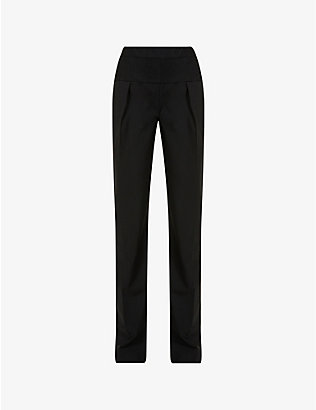 ACT N1: Straight high-rise stretch-wool and tulle trousers