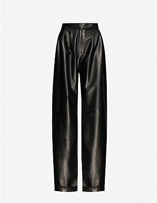 16 ARLINGTON: Sakura wide-leg high-rise leather trousers