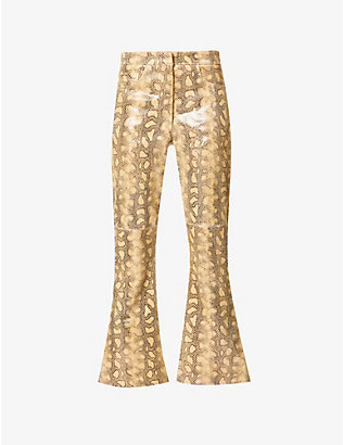 16 ARLINGTON: Romi snakeskin-print flared high-rise leather trousers