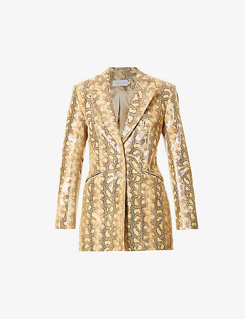 16 ARLINGTON: Kiku snakeskin-print leather blazer