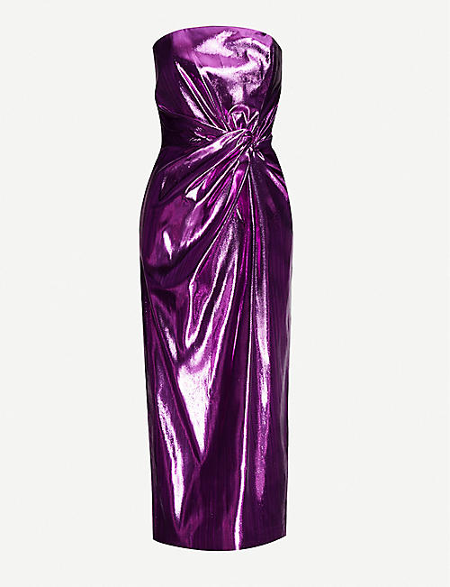 16 ARLINGTON: Himwari strapless metallic-woven midi dress