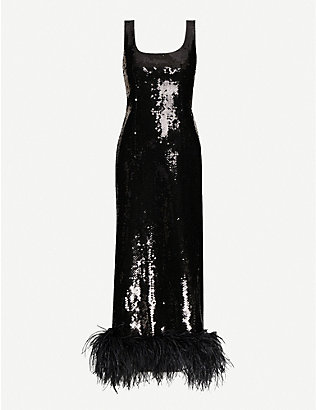 16 ARLINGTON: Asagao feather-trim sequinned midi dress