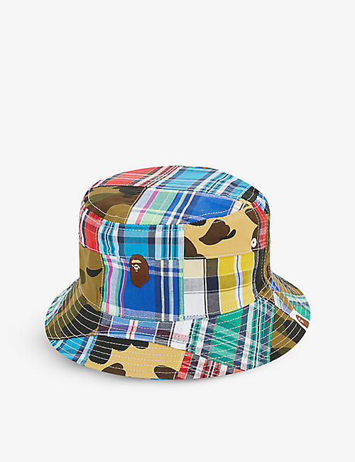 A BATHING APE: Patchwork cotton bucket hat