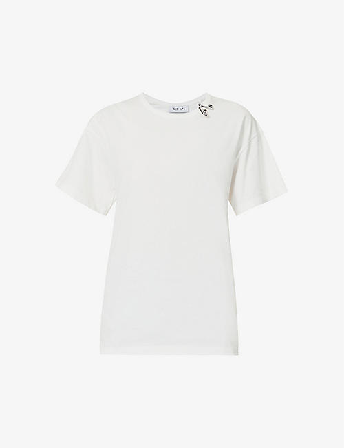 ACT N1: Ring-embellished cotton-jersey T-shirt
