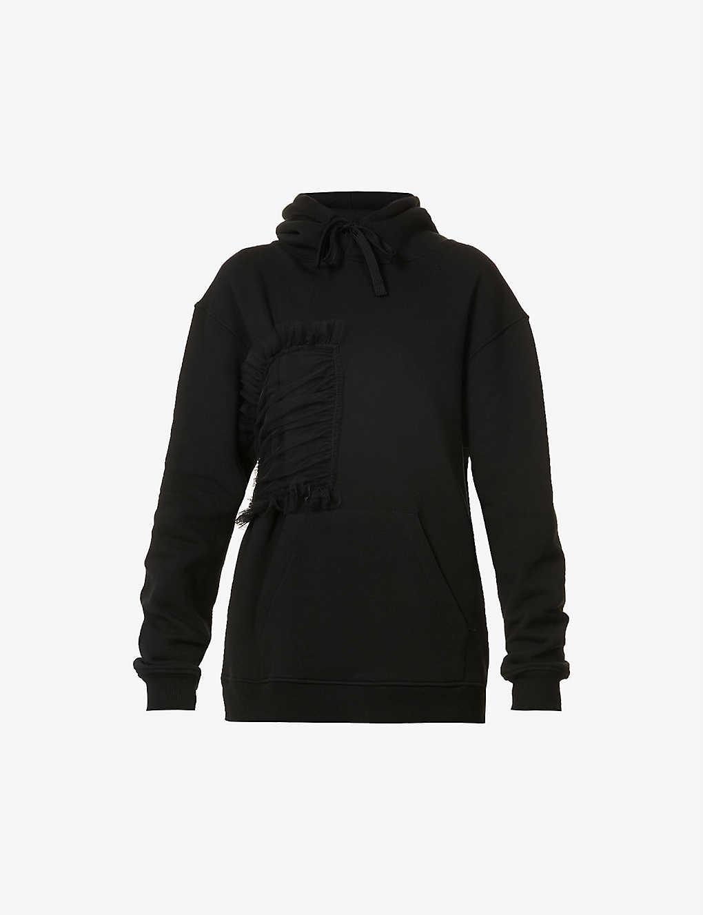 ACT N1: Bodice-panel cotton-jersey hoody