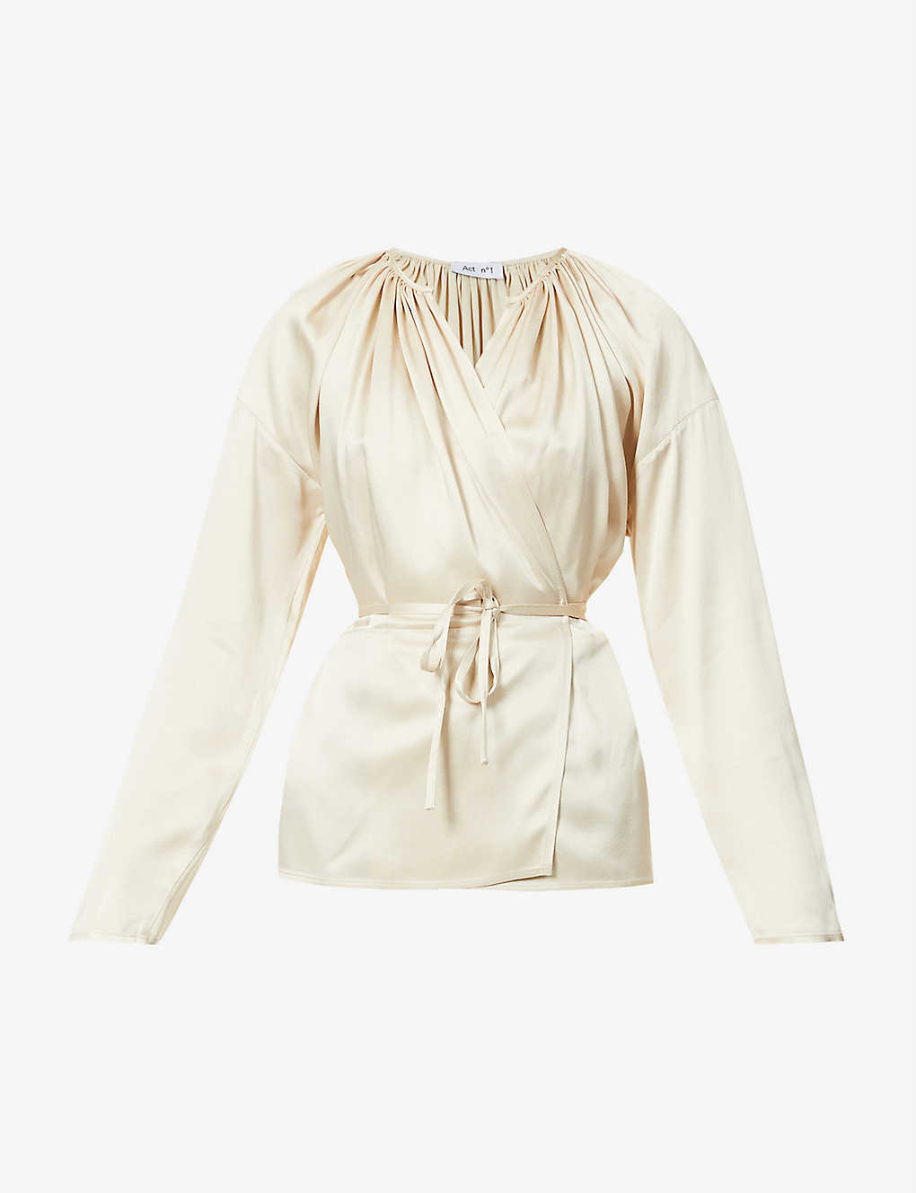 ACT N1: Gathered wrap-over satin top