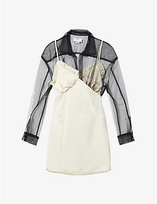 ACT N1: Shirt-collar satin-crepe mini dress