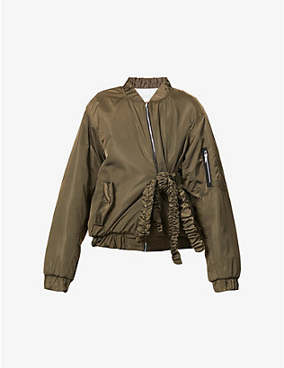 ACT N1: Ruffled tie-belt shell bomber jacket