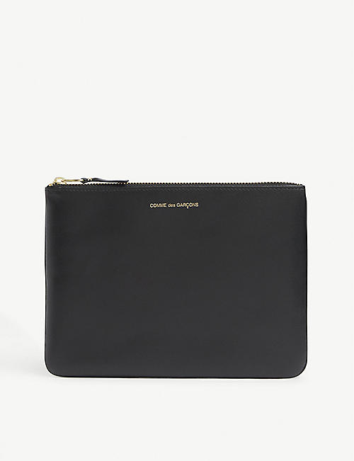 COMME POCKET: Logo-foil leather pouch