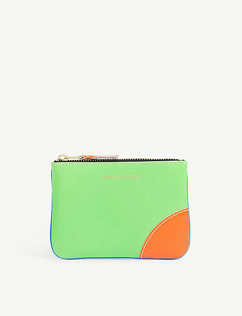 COMME POCKET: Super fluorescent leather coin wallet