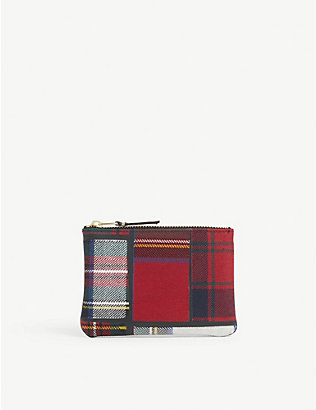 COMME POCKET: Tartan wool-blend wallet