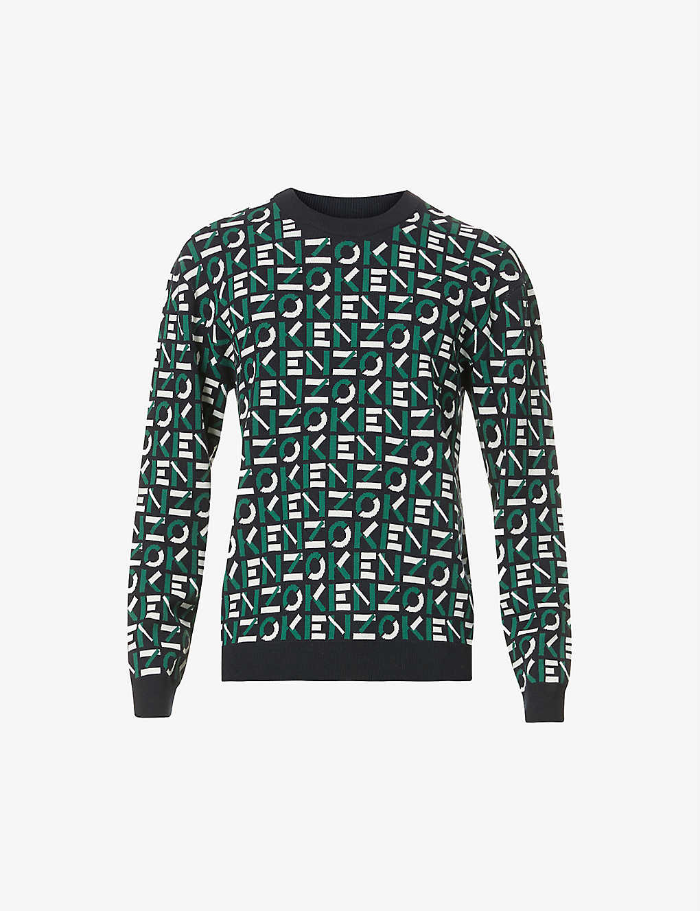KENZO: Logo-print cotton-blend knitted jumper
