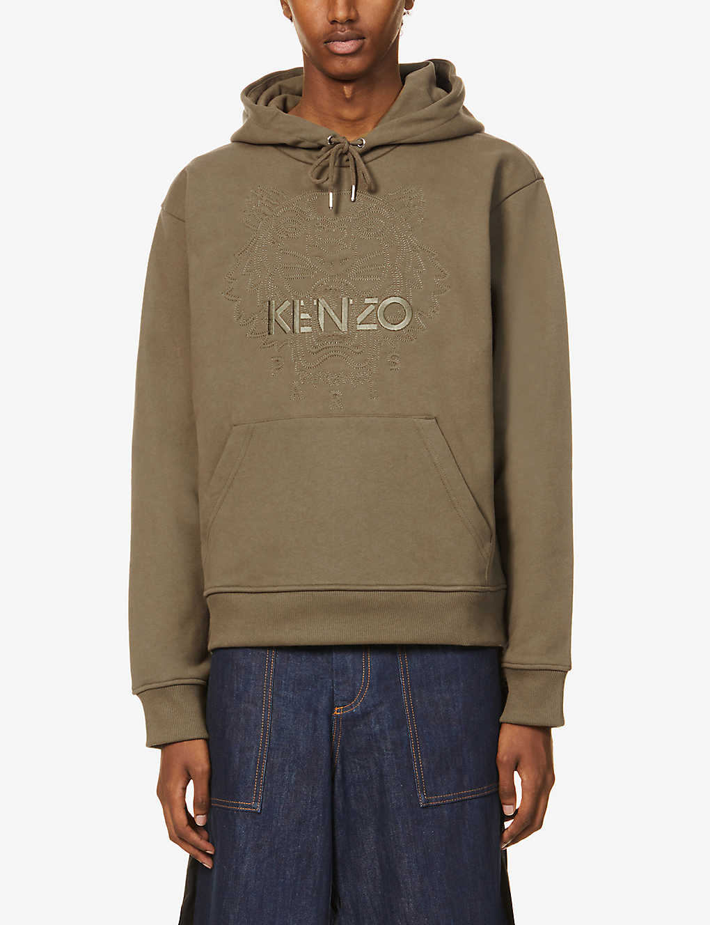 KENZO: Logo-embroidered cotton-jersey hoody