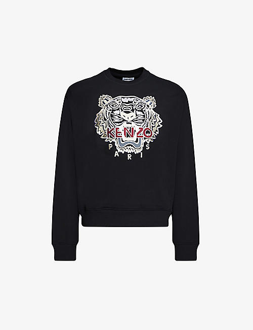 KENZO: Varsity Tiger relaxed-fit cotton-jersey jumper