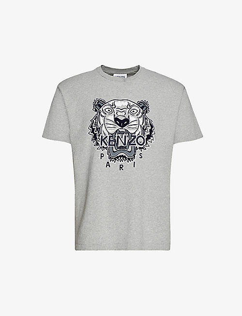 KENZO: Varsity Tiger marled classic-fit cotton-jersey T-shirt