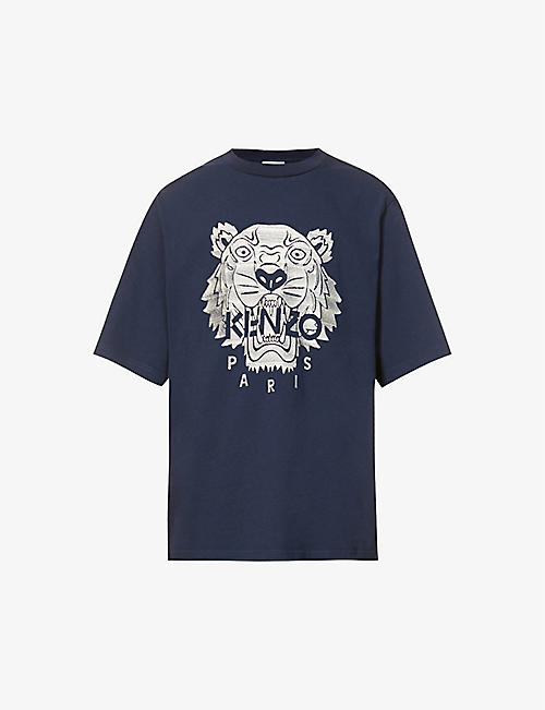 KENZO: Tiger-embroidered cotton-jersey T-shirt
