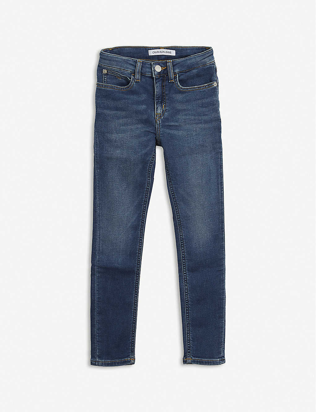 CALVIN KLEIN JEANS: Logo-print stretch-denim jeans 4-16 years