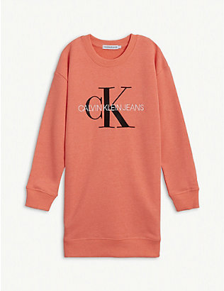 CALVIN KLEIN JEANS: Monogram print cotton sweatshirt dress 4-16 years