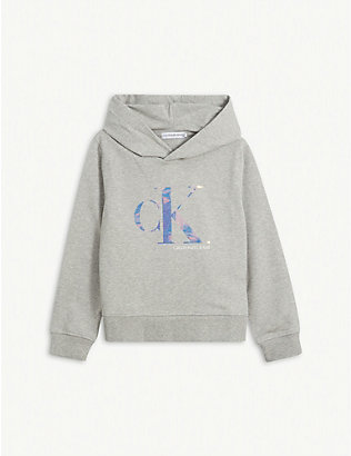 CALVIN KLEIN JEANS: Holographic logo-print cotton hoody 4-16 years