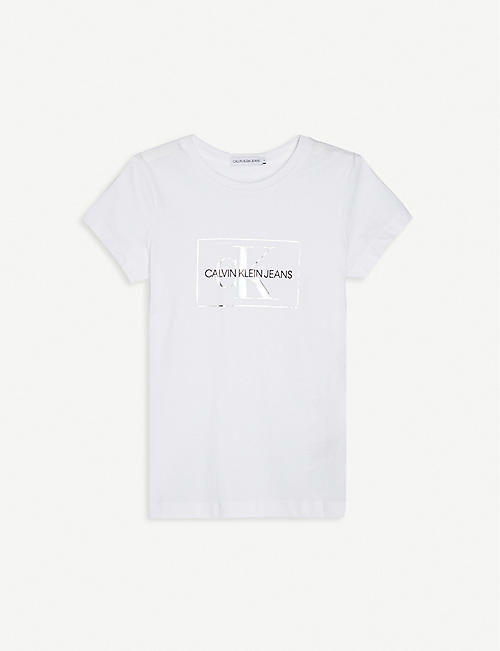 CALVIN KLEIN JEANS: Holographic logo-print organic-cotton T-shirt 4-16 years