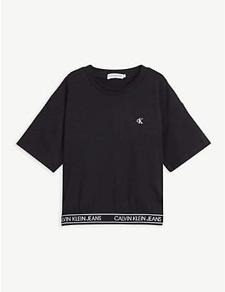 CALVIN KLEIN JEANS: Logo-embossed cotton-jersey T-shirt 4-16 years