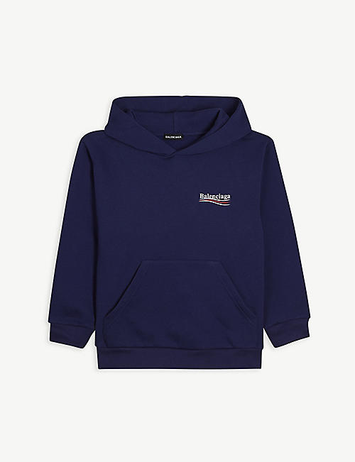 BALENCIAGA: Political logo-embroidered cotton hoody 4-10 years