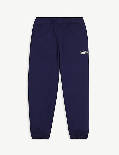 BALENCIAGA: Political logo-embroidered cotton jogging bottoms 4-10 years