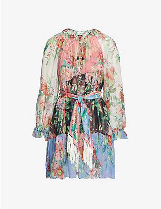 ZIMMERMANN: Floral-print silk-crepe mini dress