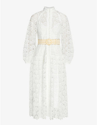 ZIMMERMANN: Floral-embroidered puff-sleeve woven midi dress