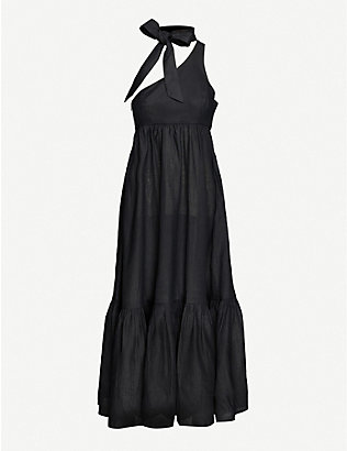 ZIMMERMANN: Empire tie-neck one-shoulder linen maxi dress