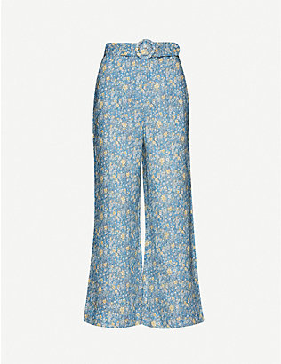 ZIMMERMANN: Carnaby floral-print flared high-rise linen trousers