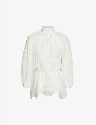ZIMMERMANN: Carnaby floral-embroidered ramie top