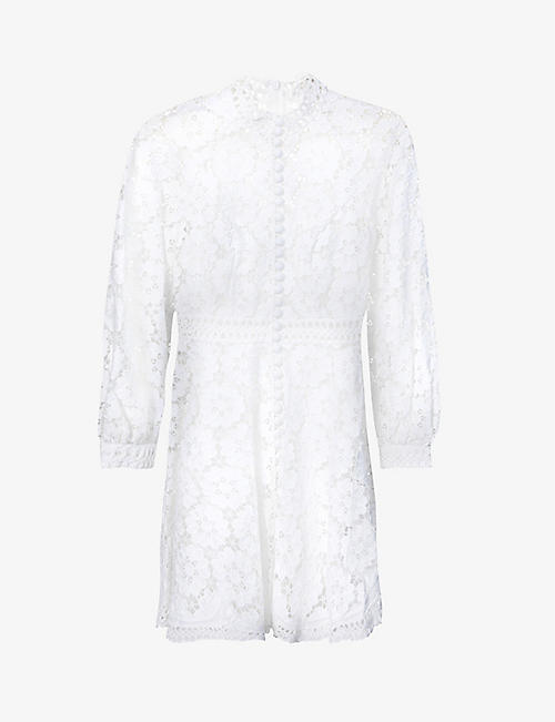 ZIMMERMANN: Bells floral-embroidered linen and cotton-blend mini dress