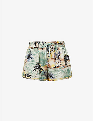 ZIMMERMANN: Juliette graphic-print mid-rise cotton-blend shorts