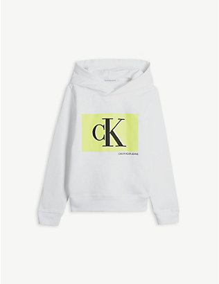 CALVIN KLEIN JEANS: Neon brand-print cotton hoody 4-16 years