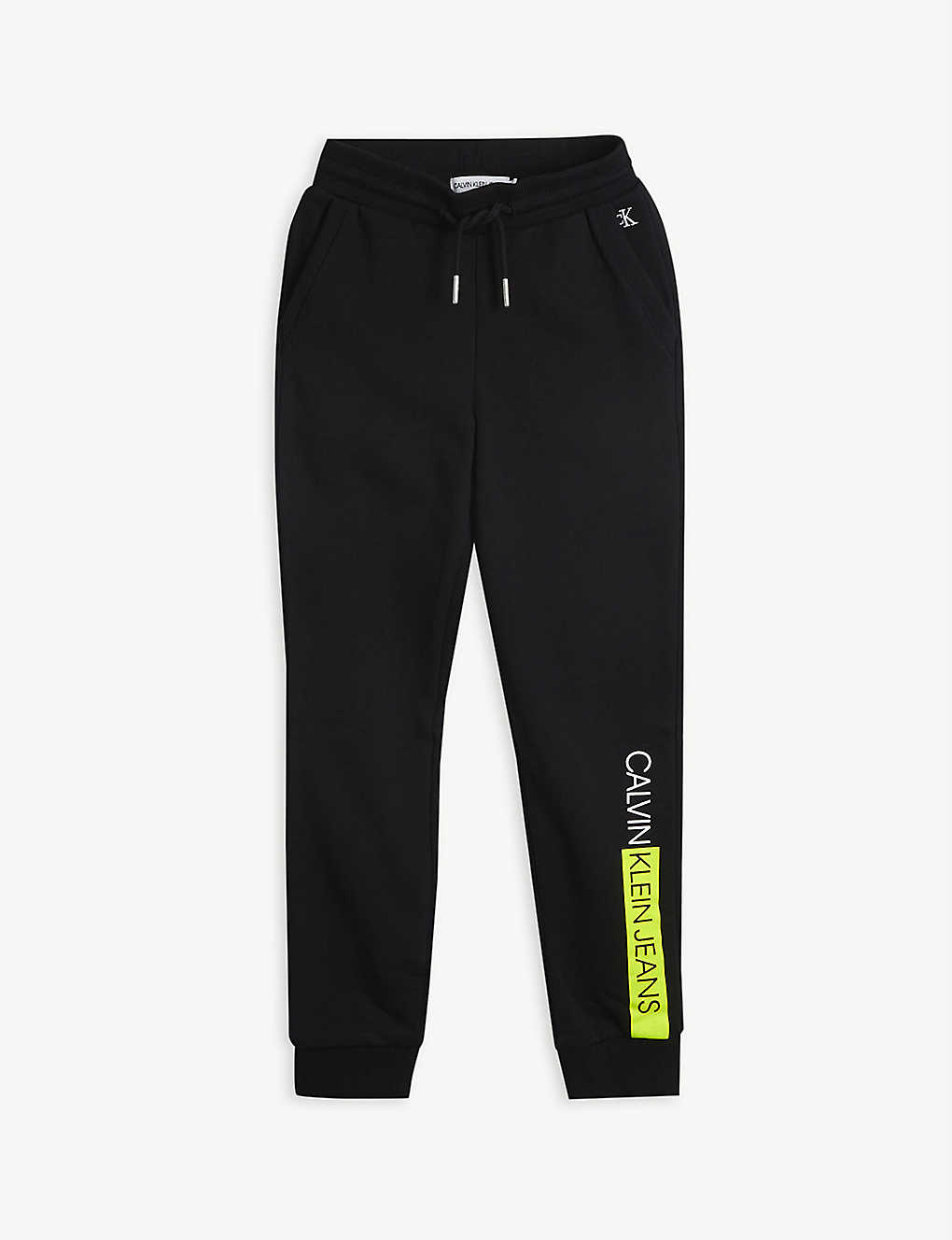 CALVIN KLEIN JEANS: Neon brand-print organic cotton-jersey jogging bottoms 4-16 years