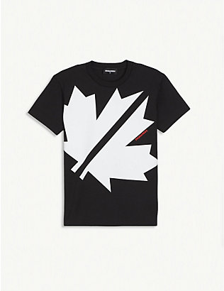 DSQUARED2: Blown Maple Leaf print cotton T-shirt 4-16 years