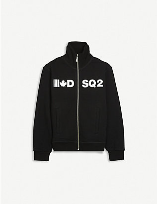 DSQUARED2: Logo-front zipped cotton sweatshirt 4-16 years