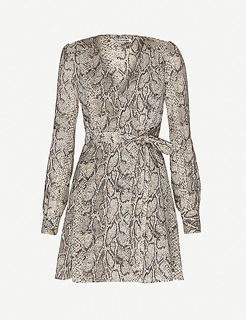 REFORMATION: Snakeskin-print wrap-front woven mini dress