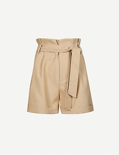 ANINE BING: Kinsley belted high-rise woven shorts