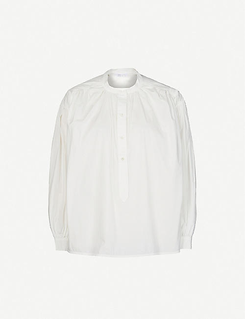 ANINE BING: Eden mandarin-collar cotton shirt