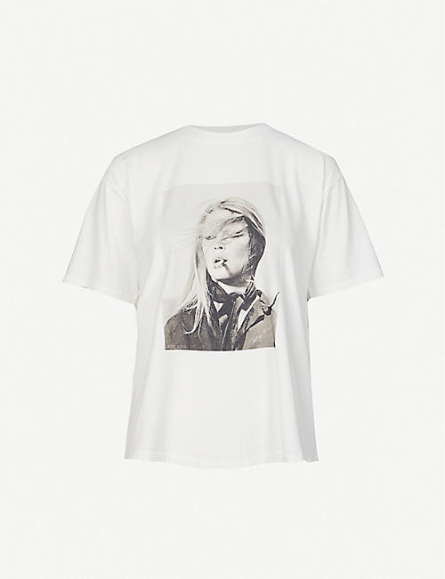 ANINE BING: Ida graphic-print cotton-jersey T-shirt