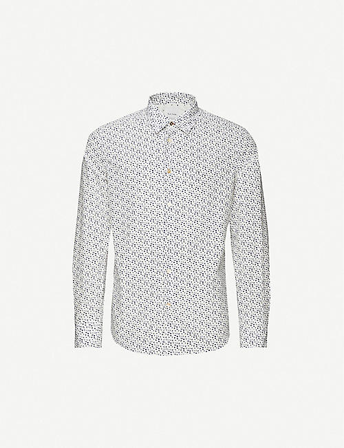 PAUL SMITH: Micro Repeat Flower print cotton-poplin shirt