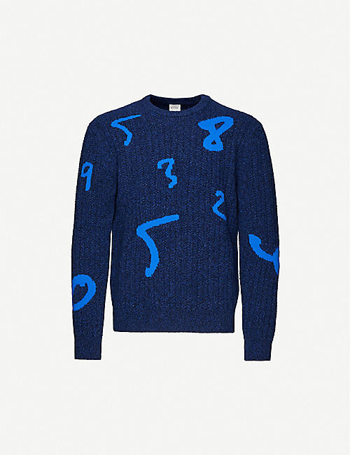 PAUL SMITH: Abstract-pattern crewneck wool jumper