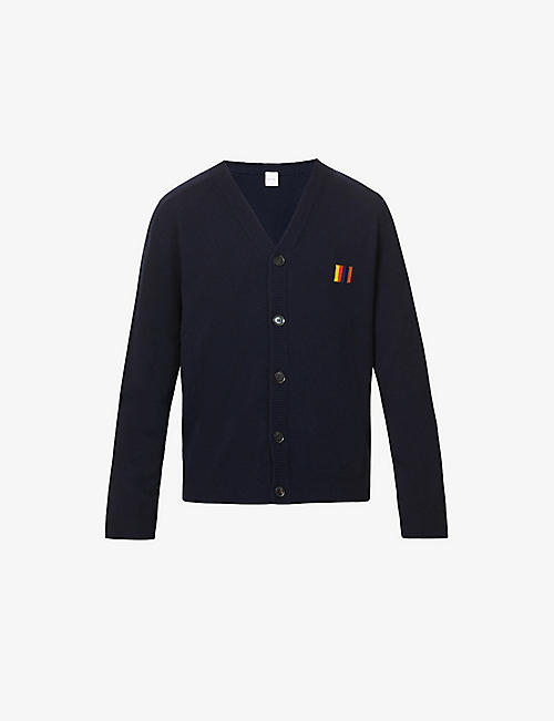 PAUL SMITH: V-neck embroidered wool cardigan