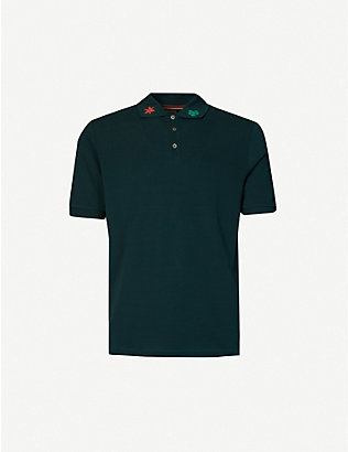 PAUL SMITH: Floral-embroidered cotton-piqué polo shirt