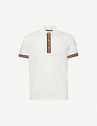 PAUL SMITH: Striped-trim short-sleeved cotton-pique polo shirt