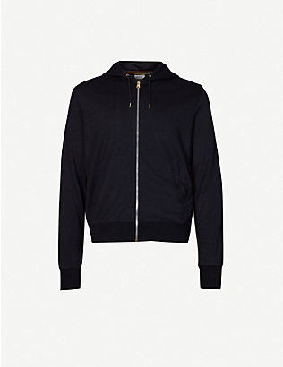 PAUL SMITH: Striped-trim drawstring wool hoody