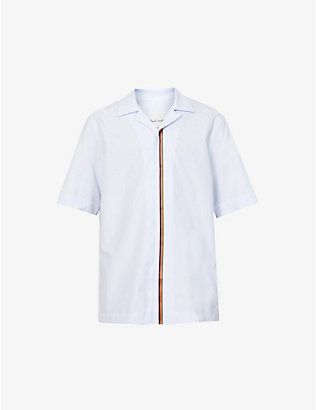 PAUL SMITH: Short sleeve striped cotton shirt