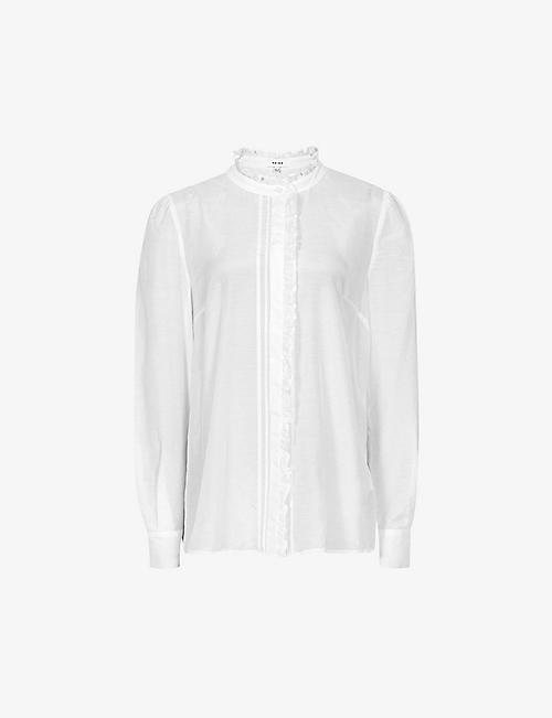 REISS: Liddy ruffle-trimmed cotton and silk-blend shirt